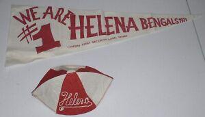 ORIGINAL-VINTAGE-RED-WHITE-HELENA-HIGH-BENGAL-BANNER-FRESHMAN-HAT-1971-MONTANA