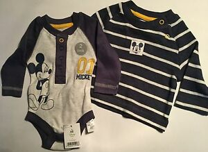 Disney 4 pcs set Mickey Mouse Baby Boy Long Sleeve Bodysuit With Cardigan 3 MTHS