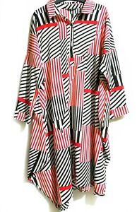 Chinese-Brand-Red-Black-White-Loose-Shirt-Dress