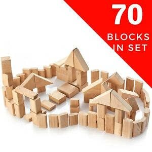 Details About Eco Wood Building Blocks For Infants And Toddlers Kids Wooden Block Set Of 70