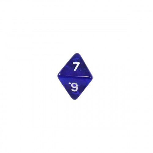 transparent 8-seitiger Würfel W8 Oktaeder blau