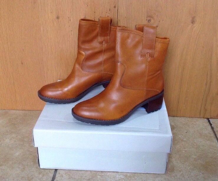 Clarks Maroda Faith Dark Tan Mid Height Biker Boots UK4D NEW REDUCED