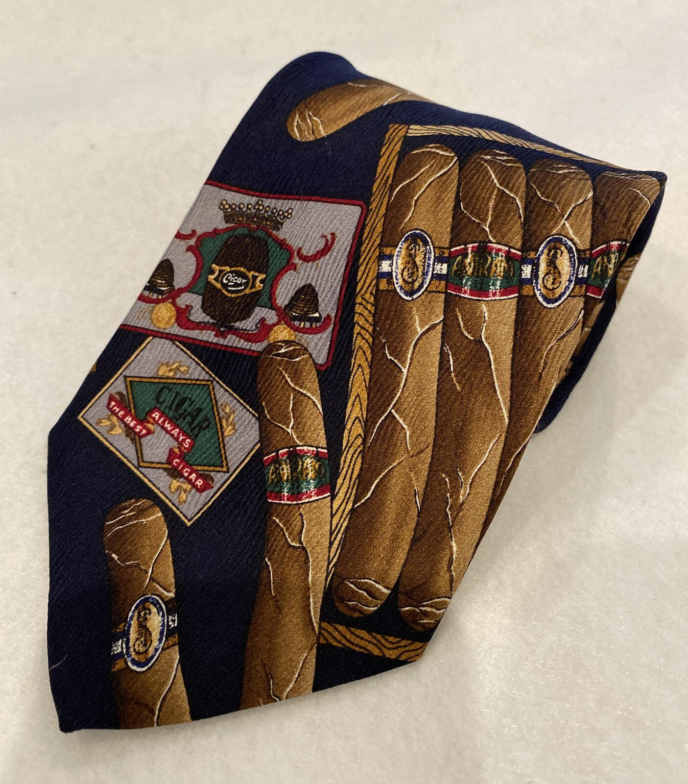 Vintage Navy Blue Cigar Novelty Silk Neck Tie