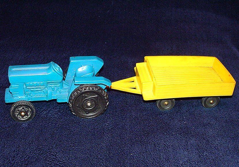 Línea de vinilo 1 20 grandes Massey Ferguson Tractor MF-135 + Trailer Vinyl PVC 1960 casi PERFECTO estado