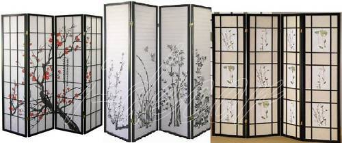 3 Panel Flower Design Wood Shoji Screen Room Divider eBay