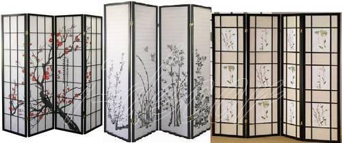 3 Panel Flower Design Wood Shoji Screen Room Divider eBay
