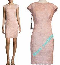 Tadashi Shoji Petal Gold Rose Lace Cocktail Sheath Dress Size 12 $379