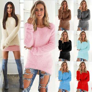Sweater-Sleeve-Jumper-Pullover-Ladies-Blouse-Tops-Women-039-s-Long-Fluffy-Sweatshirt