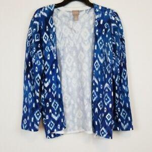 Chico-039-s-open-front-blue-geometric-print-knit-cardigan-sweater-women-039-s-size-3-XL