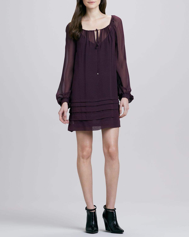 Haute Hippie  Long sleeve Pleated Silk Sheer Mini Mini Mini Dress  Size XS 11febb