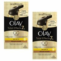 2 Olay Total Effects Colour Correction Cream Moisturiser SPF15 MediumToDark 50ml