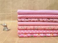 """Sewing  7 Assorted Pink Pre Cut Charm 10"""" Squares Quilt Cotton Thin Fabric F230"""