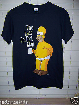 The Simpsons Homer Simpson The Last Perfect Man Adult  Shirt Size S T-Shirt NWT