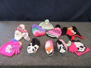 10-GIRLS-JOE-BOXER-SLIPPERS-HAT-GLOVES-KNIT-YOUTH-LOT-DISNEY-SHOPKINS-CLOTHING