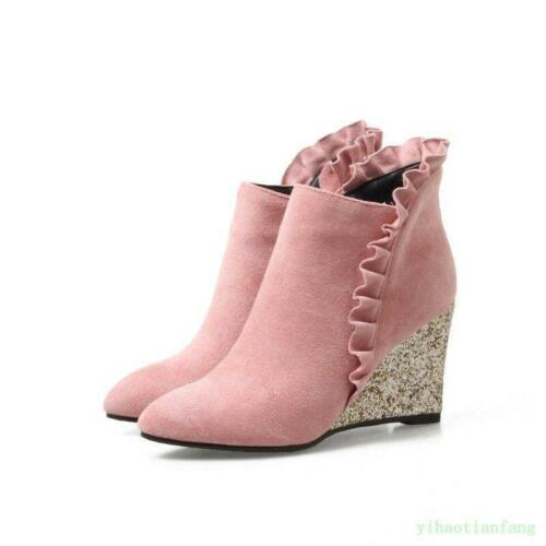 Women/'s Spring Wedge High Heel Side Zip faux Suede Lace Pumps Ankle Boots Shoes#
