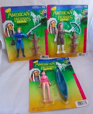 Lot de 3 American Indians Toy Action Figures Bootleg KO Rack Toys MOTU Cowboys