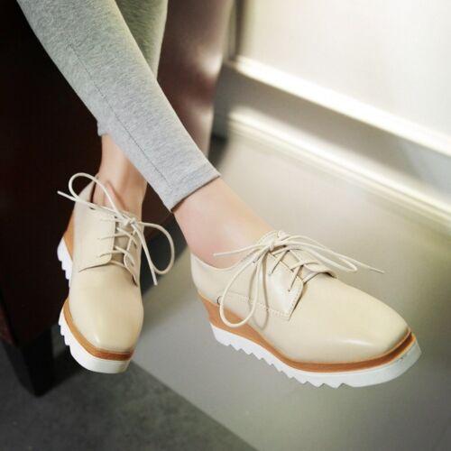 Punk Femme Compensé Moyen Talons Hauts 6 cm Plateforme Lacets Richelieu à Chaussures Oxford Taille New US