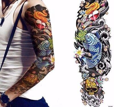 Full Arm Fish Heart Skull Lotus Blue Tribal Tattoo Temporary Tattoo