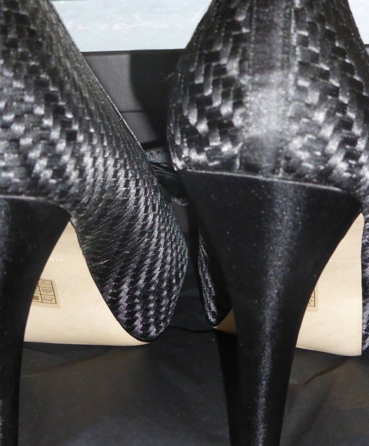PHASE EIGHT BEAUTIFUL BLACK BECKY WEAVE PEEP TOE SHOE SIZE 7 (40)