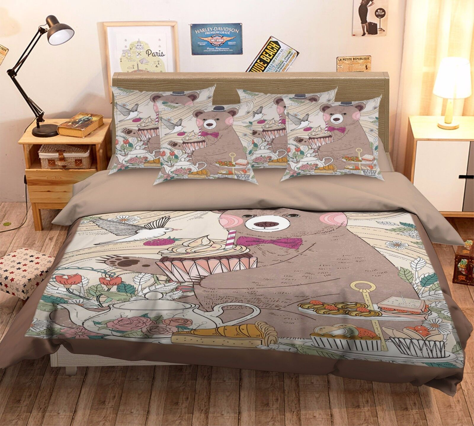 3D Greedy Delicious Bear 4 Bed Pillowcases Quilt Duvet Cover Set Single Queen CA
