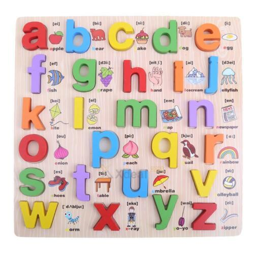 Wooden Alphabet English Letters Jigsaw Puzzle Kids Learning Educational Toy Gift