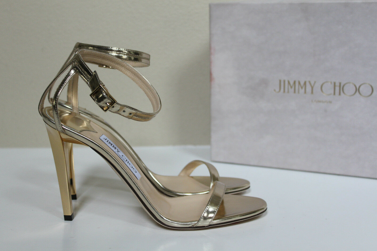New sz 10 / 40 Jimmy Choo Daisy Ankle Gold Mirror  Leder Ankle Daisy Sandal Peep Toe schuhes 5a1983
