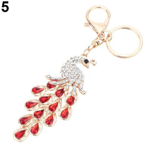 EE/_ EG/_ Rhinestone Peacock Key Chain Bag Purse Charm Pendant Alloy Keychain Gift