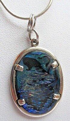 Collier Chaîne Argent 925 Poinçon Pendentif Cabochon Abalone Bijou Vintage 5064