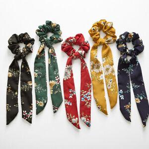 Lots-Women-Lady-Scrunchie-Ponytail-Holder-Elastic-Long-Ribbon-Bow-Hair-Band-Rope