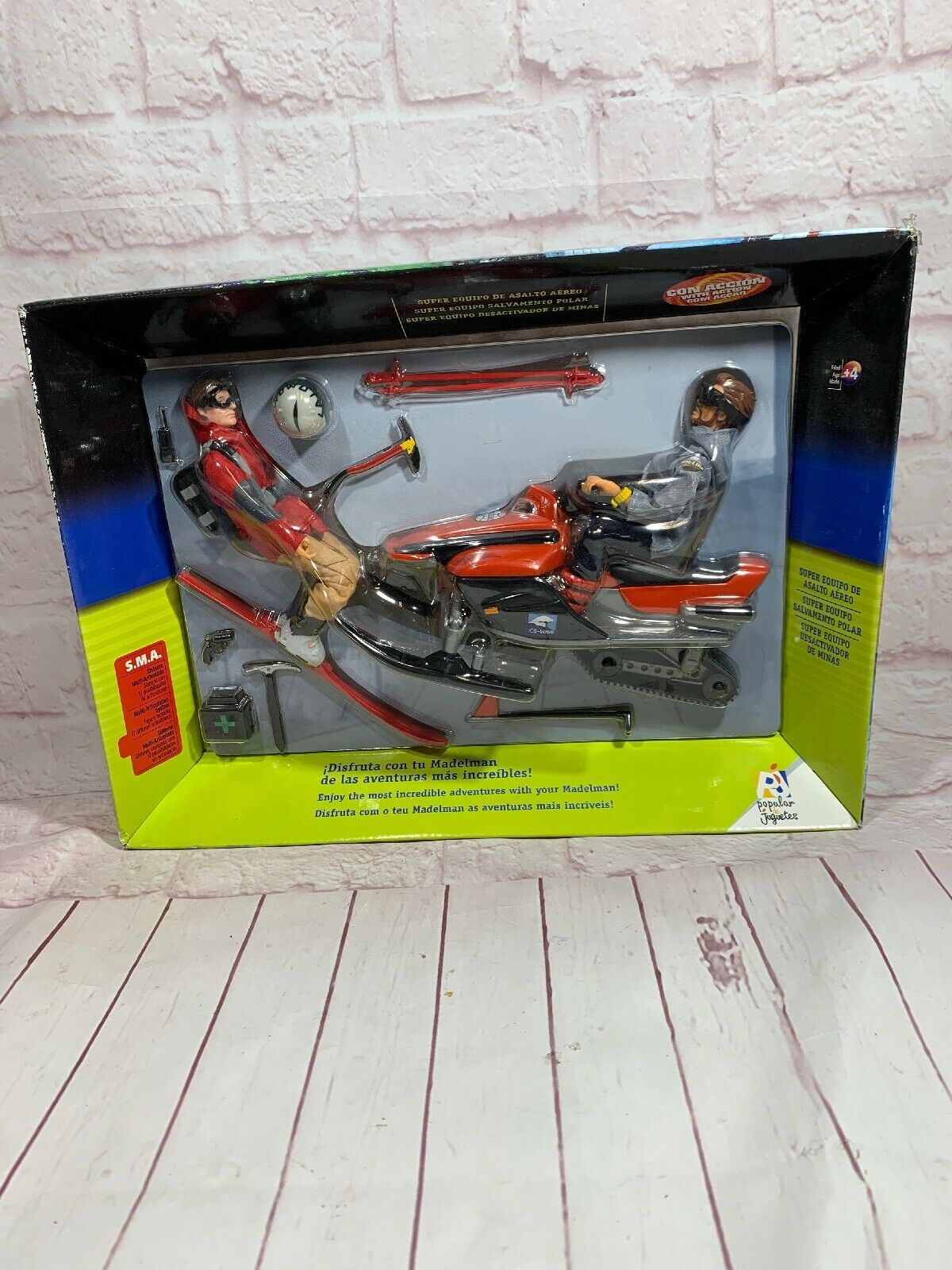 Madelman ski And Snowmobile Action Fifure Set New In Box.