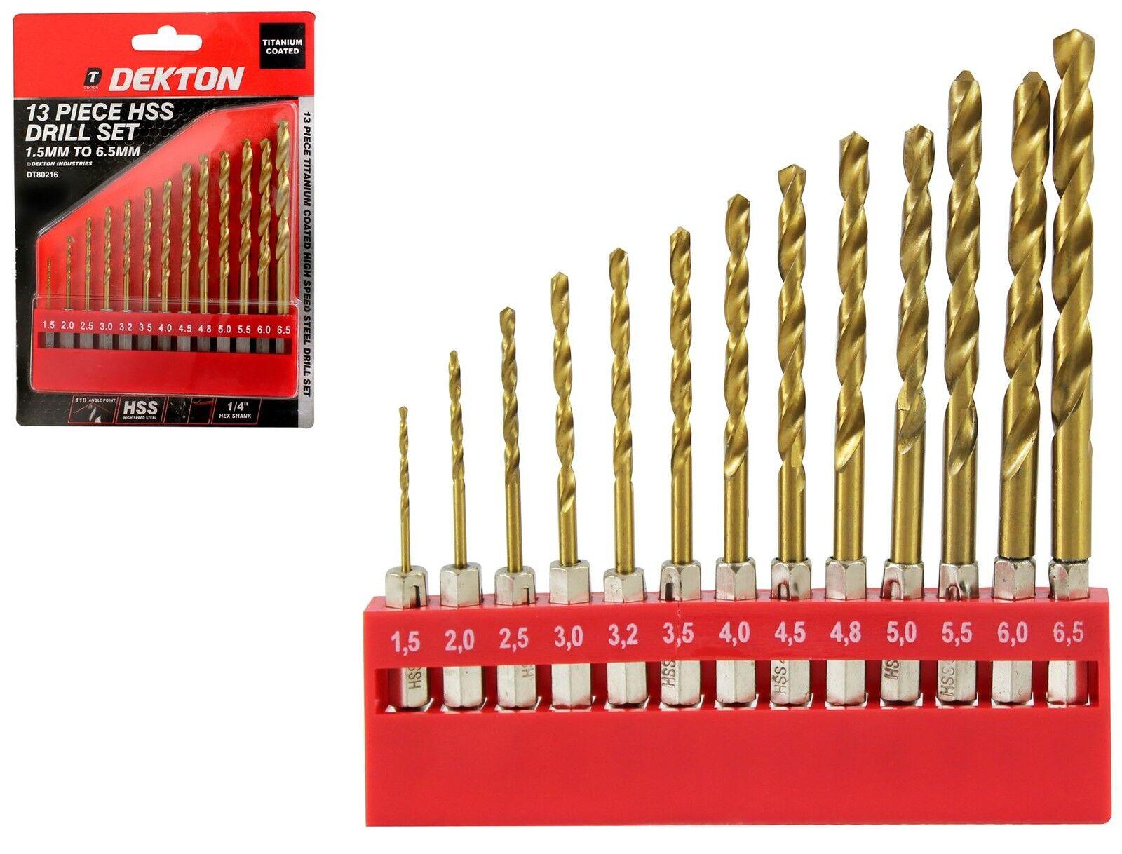Dekton 13pc HSS Drill Metal Bits Set Titanium Coated 1/4