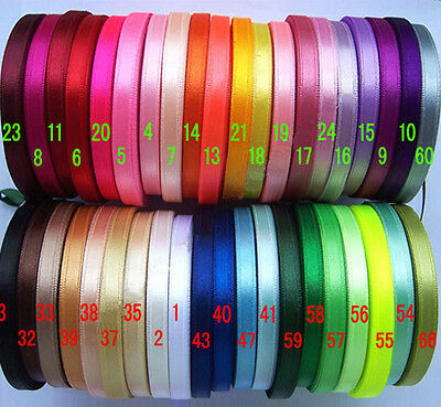 "6mm(1/4"") mixed colors satin double faces ribbon lot craft 100 Yards 40 colors"