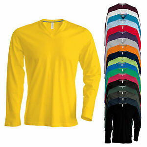 Kariban-Herren-Longsleeve-V-Neck-T-Shirt-Langarm-Enzymgewaschen-bis-4XL