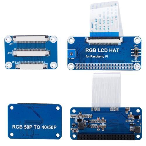 RGB HAT LCD Driver Board Kit DPI Driver 40-50Pin 5//7//10.1/'/' For Raspberry Pi