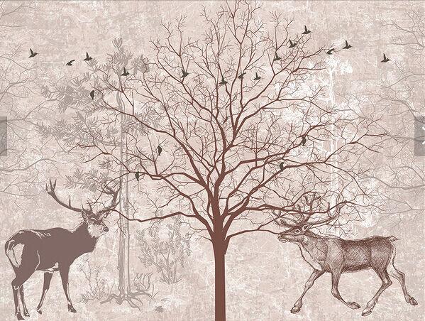 3D Baum Hirsch 687688 Fototapeten Wandbild Fototapete BildTapete Familie DE