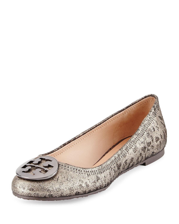 NIB Tory Burch Reva Pelle Metallic Leopard Ballet Flats Shoes Anthracite 9 M