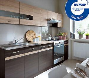 FIWODO® Küchenzeile Küche Einbauküche 2,4m - Wenge Sonoma Eiche AB ...