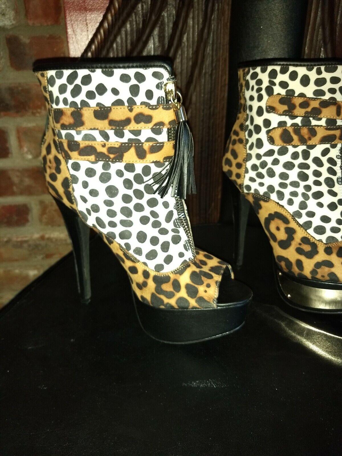 Leopard Print Heeled Booties Boots Zipper Back Faux gold Metal Overlay on Heel