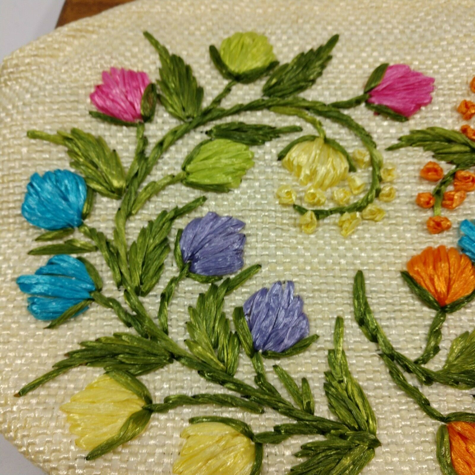 Vintage 60s Raffia Handbag Floral Print Top Handl… - image 4