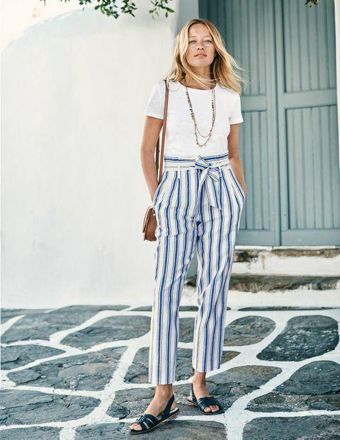 BODEN Damen Sommer Hose -St Ives Paperbag Trousers -leinen Uk.10P 36 Neu
