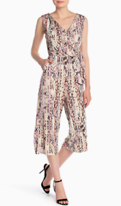 T Tahari Snakeskin Print Sleeveless Wrap Jumpsuit NWT $158