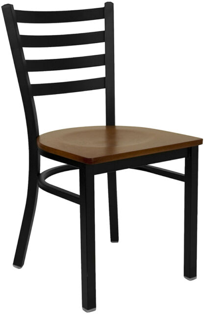 Restaurant Metal Dining Chairs Cherry Wood Seat Lifetime Frame Warranty