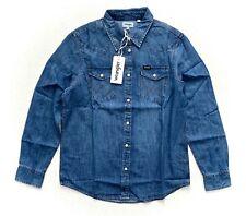 Wrangler Nwt Womens Indigo Denim Western Snap Long Sleeved Shirt Wwl0168