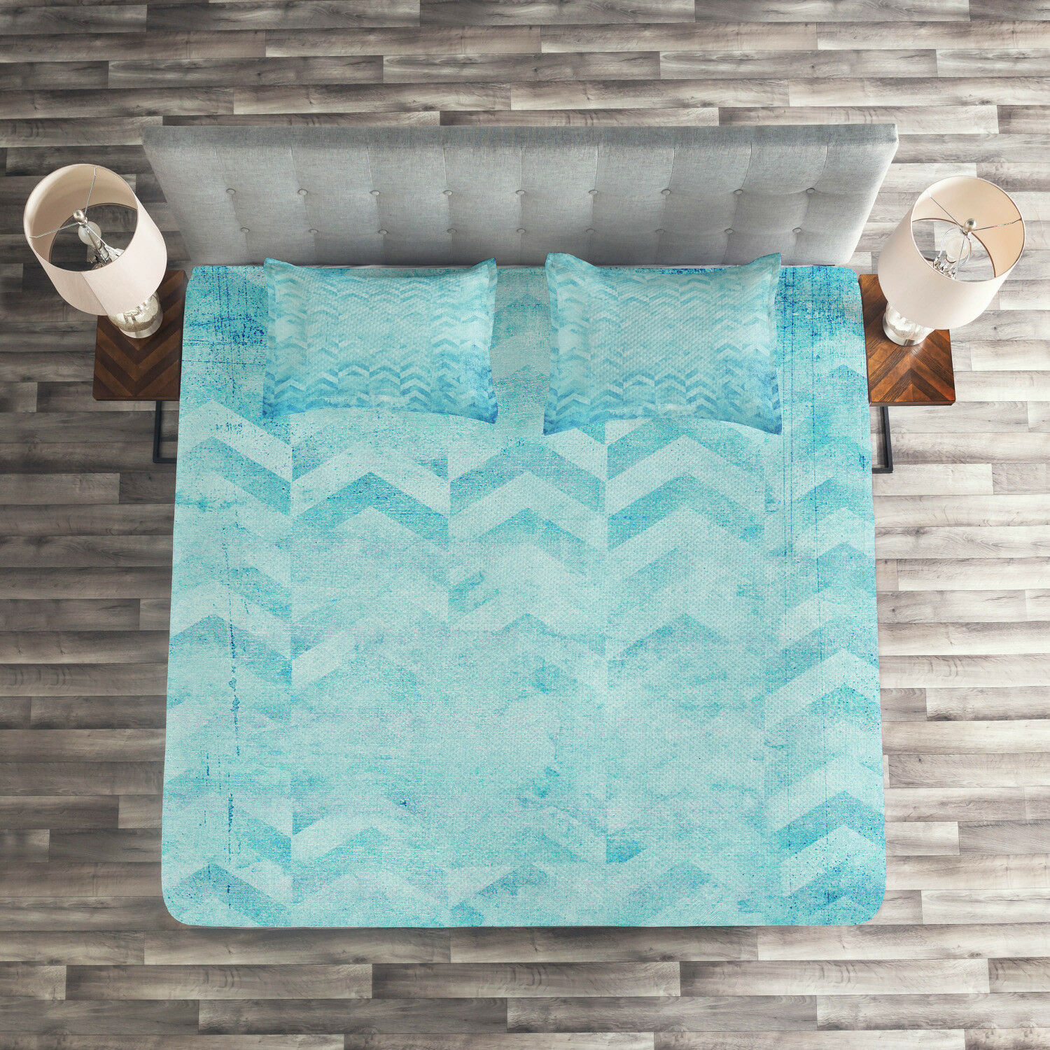Turquoise Quilted Coverlet & Pillow Shams Set, Geomeric Chevron Art Print