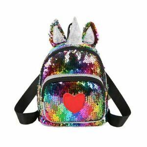 Baby Kids Toddlers Bling Unicorn Cool Sequin Backpack Shoulder Bag Boys Girls