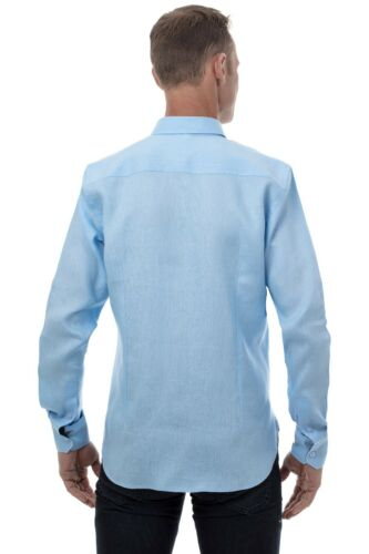 down Casual Lino Camicia Button Uomo Manica Ugholin Celeste 100 Lunga xAEwg8R