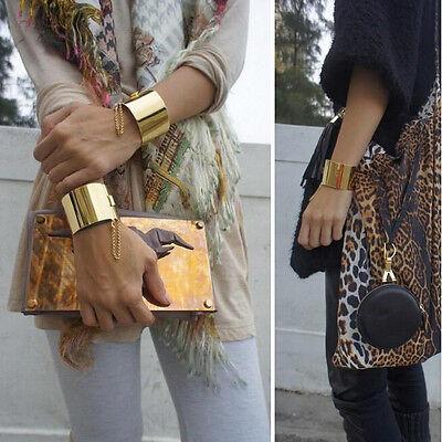 Hot Women Punk Metal Mirror Shiny Gold/Silver Chain Cuff Wide Bangle Bracelet