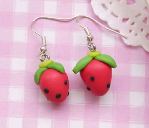 UK SELLER Red Strawberry Kawaii Kitsch Clay Costume Drop Dangle Earrings
