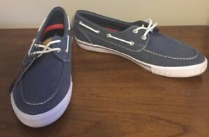 be33ca466536 Image is loading Levis-Comfort-Navy-Canvas-Deck-Shoes-Size-9-