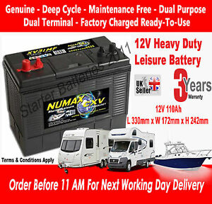 12V-110AH-Deep-Cycle-Battery-Numax-XV31MF-Leisure-Caravan-amp-Marine-Boat-Range